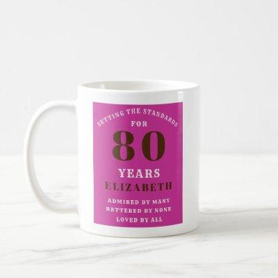 80th Birthday Vibrant Pink Add Your Name Coffee Mug
