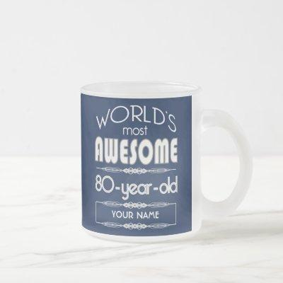 80th Birthday Worlds Best Fabulous Dark Blue Frosted Glass Coffee Mug