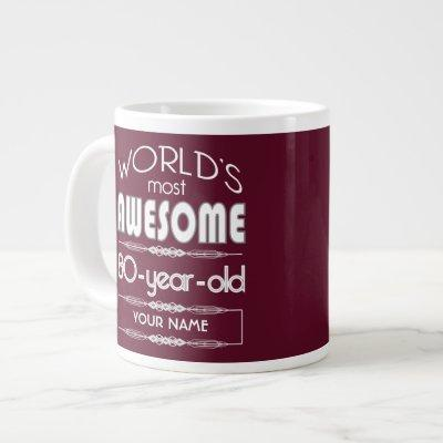 80th Birthday Worlds Best Fabulous Dark Red Giant Coffee Mug
