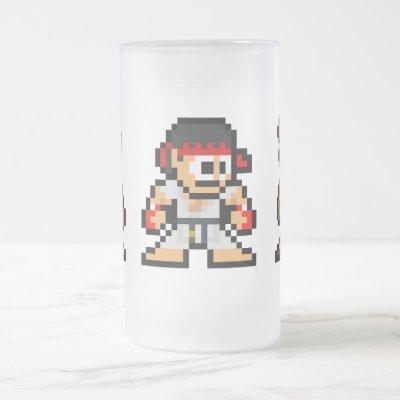8-Bit Ken Ryu Akuma Frosted Glass Beer Mug