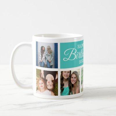 8 Photo Collage Happy Birthday Coffee Mug