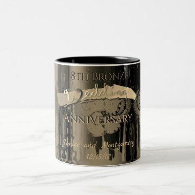 8th Bronze Wedding Anniversary Steampunk Two-Tone Coffee Mug