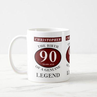 90th Birthday Red Genuine Legend Add Your Name Coffee Mug