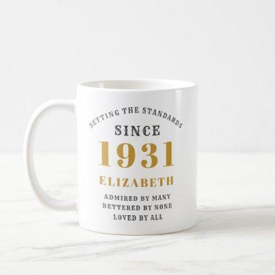 90th Birthday Standards Born 1931 Add Your Name Coffee Mug