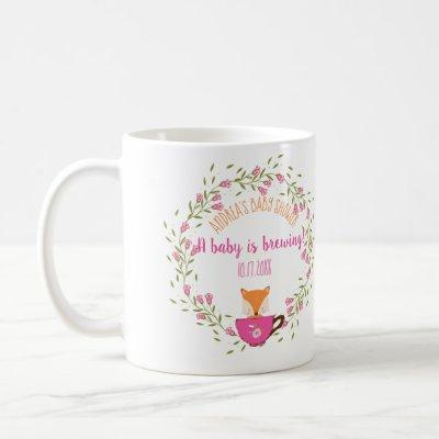 A Baby is Brewing Pink Teacup Baby Girl Shower Coffee Mug