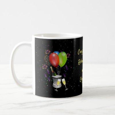 A Colorful Congratulations Engagement Coffee Mug