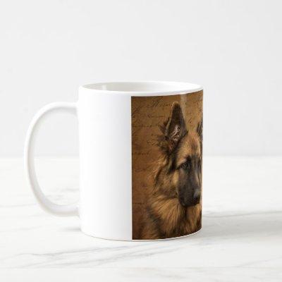 A german shepherd in paris coffee mug