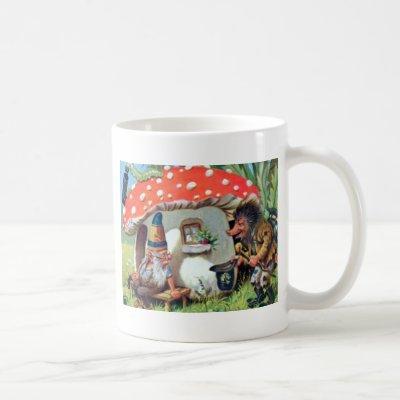 A Gnome Living in a Mushroom Cottage Coffee Mug