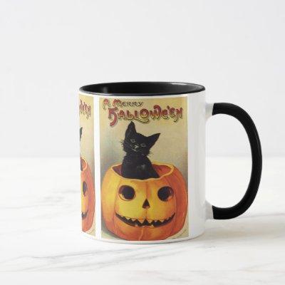 A Merry Halloween, Vintage Black Cat in Pumpkin Mug