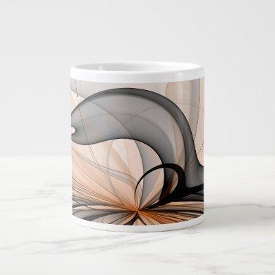 Abstract Anthracite Gray Sienna Modern Fractal Art Giant Coffee Mug