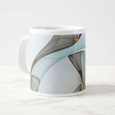 Abstract Modern Turquoise Brown Gold Elegance Giant Coffee Mug