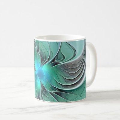 Abstract With Blue, Modern Fractal Art Coffee Mug