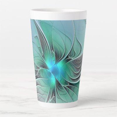 Abstract With Blue, Modern Fractal Art Latte Mug