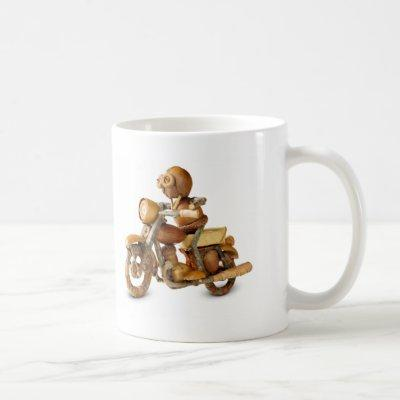 Acorn elf motorcycle rider coffee mug