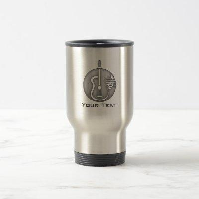 Acoustic Guitar; Brushed metal-look Travel Mug