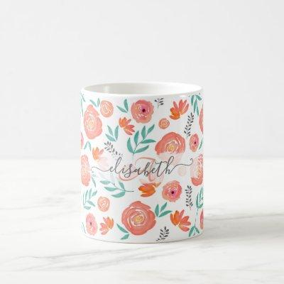 Add Name + Pink Coral Watercolor Floral Pattern Coffee Mug