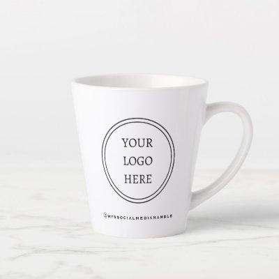 Add Your Logo Black and White Promotional Latte Mug