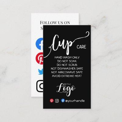 ADD YOUR LOGO cup CARE CARDS vinyl business