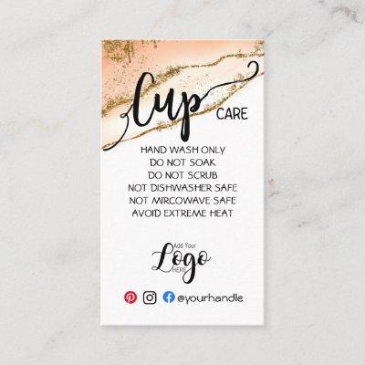 ADD YOUR LOGO cup CARE vinyl business watercolor Business Card
