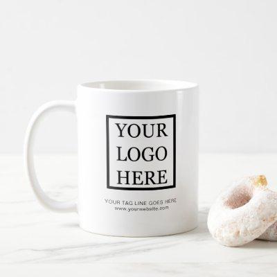 Add Your Logo Minimalist Black and White Business Coffee Mug
