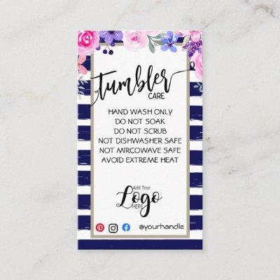 ADD YOUR LOGO TUMBLER CARE CARDS vinyl business