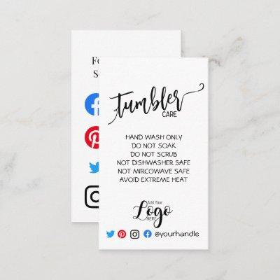 ADD YOUR LOGO tumbler CARE vinyl business simple Business Card