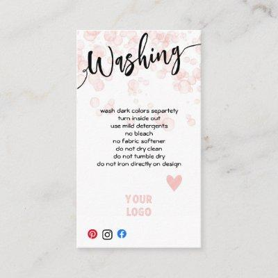 ADD YOUR LOGO WASHING CARE CARDS