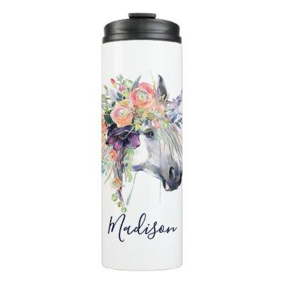 Add Your Name   Floral Dressed Unicorn Thermal Tumbler