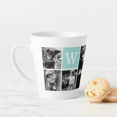 Add Your Own 4 Photo Gallery and Mint Monogram Latte Mug