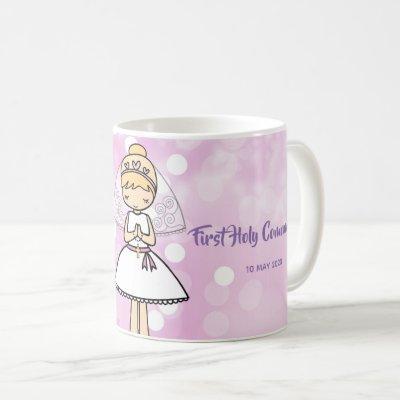Adorable First Holy Communion blond girl name mug