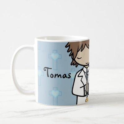 Adorable First Holy Communion boy blue name Coffee Mug