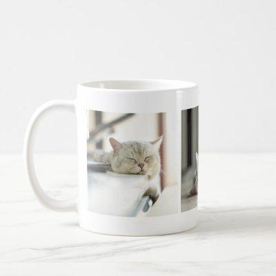Adorable Tired Kitty Cat Lovers' Photo Collage Mug
