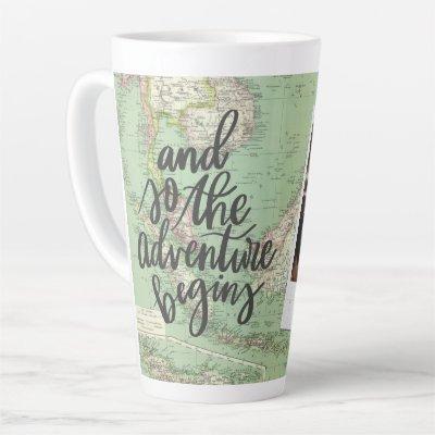 Adventure vintage map stylish photo graduation cof latte mug