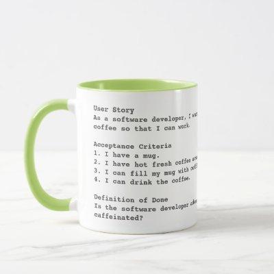 Agile user story acceptance criteria mug with logo
