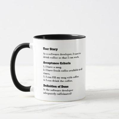 Agile user story mug for office fun