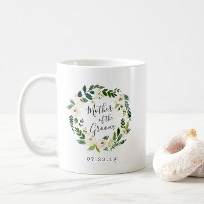 Alabaster Floral Wreath Mother of the Groom Coffee Mug