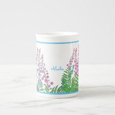 Alaskan fireweed and forget-me-nots tea cup