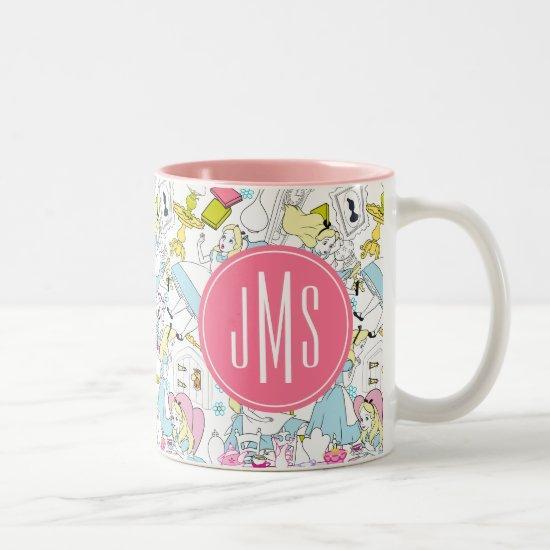 Alice in Wonderland   Monogram Oversized Pattern Two-Tone Coffee Mug