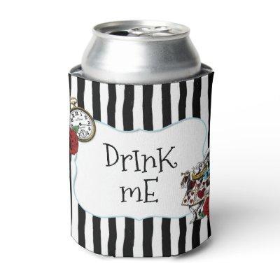 Alice in Wonderland Striped Drink Me Can Cooler