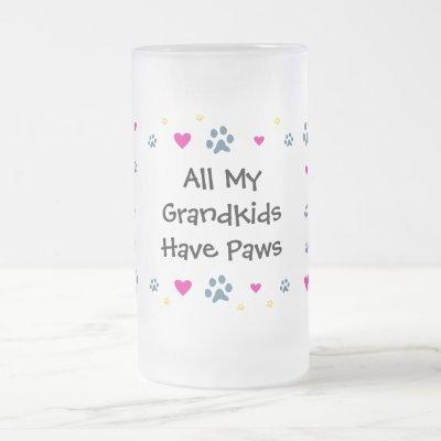 All My Grandkids-Grandchildren Have Paws Frosted Glass Beer Mug