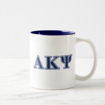 Alpha Kappa Psi Navy Letters Two-Tone Coffee Mug