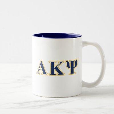 Alpha Kappa Psi Yellow and Navy Letters Two-Tone Coffee Mug