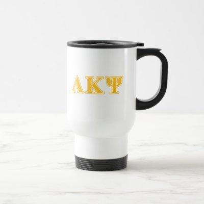 Alpha Kappa Psi Yellow Letters Travel Mug