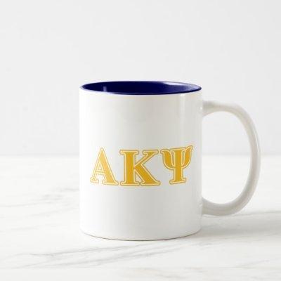Alpha Kappa Psi Yellow Letters Two-Tone Coffee Mug