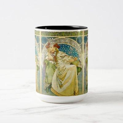 Alphonse Mucha Princess Hyacinth Art Nouveau Two-Tone Coffee Mug