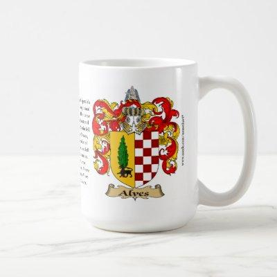 Alves, the Origin, the Meaning and the Crest Coffee Mug