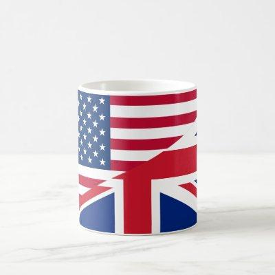 American and British Merged Flag Mug