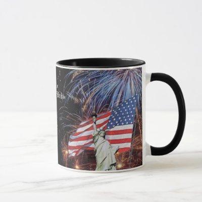 American Flag Fireworks & Statue of Liberty Design Mug