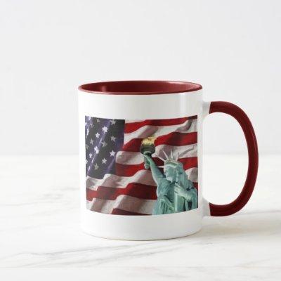 American Flag with Lady Liberty Mug