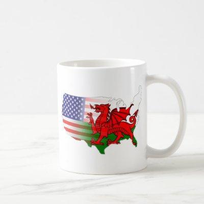 American Welsh Flags Map Coffee Mug